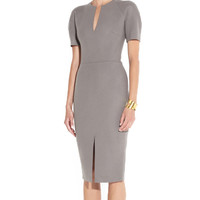 Grey Short Sleeve V-Neck Bodycon Midi Dress