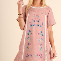 Floral Embroidered Lace Trim Boho Tunic in Rose Pink by Umgee