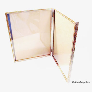 Vintage Picture Frame, Folding Brass Double Photo Frame, 8 x 10