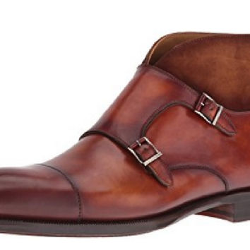 Magnanni Cognac Leather and Suede Monk Strap Men's Ankle Boots