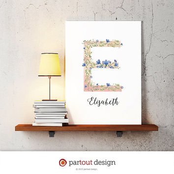 letter E baby nursery art watercolor monogram logo personalized gift name initial art print printable letter nursery decor initial name art