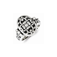 Sterling Silver Antique Locket Ring: RingSize: 8