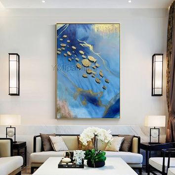 Modern art Acrylic Abstract painting On canvas art Original Gold fish ocean Sea Navy blue painting texture Large Wall art cuadros abstractos