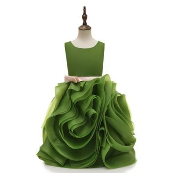 Green Flower Girl Dresses Ruffles Bottom Cute Girl Party Gowns Birthday Dresses Princess Gowns