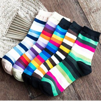 Women Rainbow Candy Color Cotton Sock Stripes Stretchy Casual Ankle Long Socks