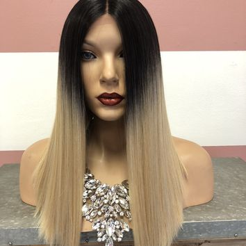 Blond Ombré Swiss Lace Front Wig | Blunt Cut Straight Soft Layered Hair | Morgan