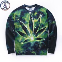 Mr.1991INC New Arrivals Men/women 3d sweatshirt space galaxy hoodies digital print green leaves autumn winter thin tops
