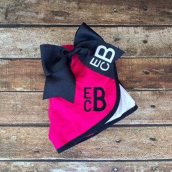 Monogrammed Cheer bow and Shorts Set, Girls and Ladies Sizes, Monogrammed Running Shorts and Cheer Bow, Cheer camp, Cheerleaders