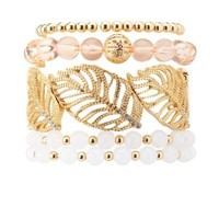 Leaf Cuff & Beaded Bracelets - 5 Pack by Charlotte Russe - Gold