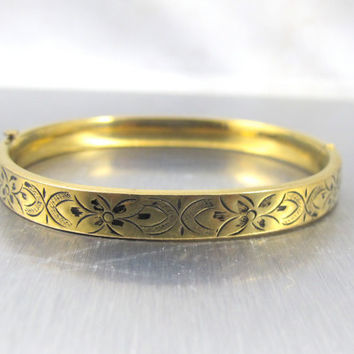 Vintage Taille D' Epargne Bangle Bracelet Enamel 12K Gold Fill Filled Hallmarked Carl Art Etched