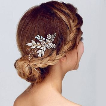 Women Lady Hairpin Hair Comb Clip Floral Head Piece Crystal Flower Bride Hair Pins Wedding Bridal Hairs Accessories Gift @M23