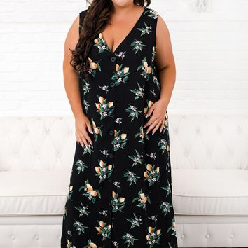 Curvy Start Of Something Maxi Dress (Lemon)