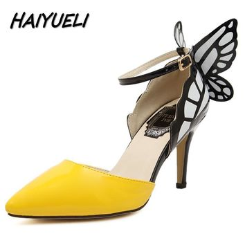 HAIYUELI new fashion Dream Butterfly buckle women pumps sexy pointed toe wedding party