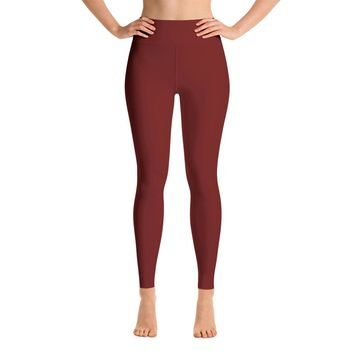 Solid Burgundy Yoga Leggings