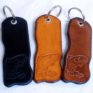 Leather key ring for fishermen, key fob, tooled leather, fish