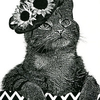 Female Cat flower hat original art print ink pets animal black and white art E B