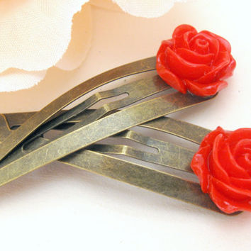 Bronze hair clips with red rose, retro style, snap clip