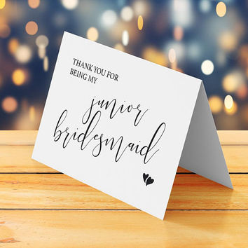 "Junior bridesmaid card printable, Thank you card for wedding Folded tented small elegant wedding thank you card 5""x3.5"" Digital download pdf"
