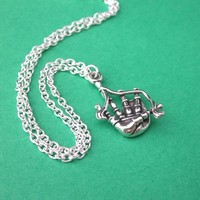 Sterling Silver Bagpipes Necklace Rare Find Musical Instrument Charm