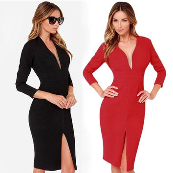 Stylish Lady Women Sexy Deep V-Neck Long Sleeve Sheath Package hip Front Split Party Work Slim Pencil Dress F_F