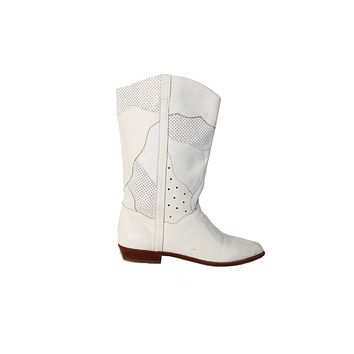 VINTAGE WHITE ITALIAN LEATHER COWBOY BOOTS SIZE 7 1/2