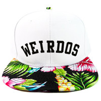 Hula Weirdos Snapback Hat in White