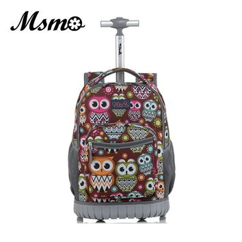 MSMO Rolling Backpack Children Trolley School Bags Laptop 18 Inch Multifunction Wheeled Bookbag Travel Bag for Kids and Students