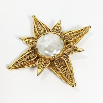 Maltese Cross Pin Gold Tone Layered Filigree Points & Faux Pearl Religious Brooch Vintage Mid Century Style Theme Christian Symbol Royalty