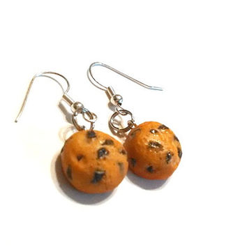 Chocolate Chip Cookie Dangle Earrings, Polymer Clay Food Jewelry