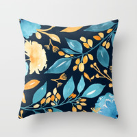 Teal and Golden Floral Throw Pillow by noondaydesign