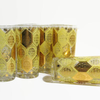 Highball Glasses, Barware Drinking Glasses 1960's Mad Men Style Gold Decorated Bar Glasses