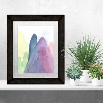 Mountain Watercolor, Mountain Painting, Colorful Mountains, Mountain Lovers, Mountain Gift, Outdoor Gift, Mountain Art, Abstract Mountains