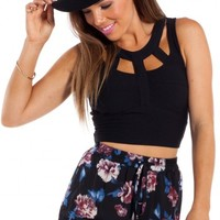 Maroon Moon Shorts in black floral | SHOWPO Fashion Online Shopping