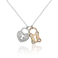 1.2TCW Pave Lab Diamond Heart & Lock Necklace Pendant