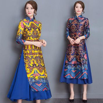 Ao Dai Japanese Japanese Direct Selling Cotton Women Ao Dai Yukata 2018 New Winter High-end Vietnam Aodai Cheongsam Dress