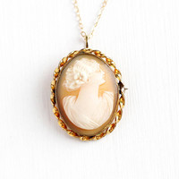 Carved Cameo Necklace - Vintage 12k Rosy Yellow Gold Filled Cameo Pendant - 1940s Oval Twisted Scalloped Fine Jewelry on 14k GF Chain
