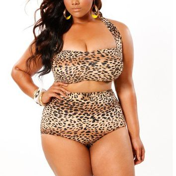 """Sao Paulo"" High-Waisted Plus Size Bikini Top with Underwire - Leopard - Swimwear - Monif C"