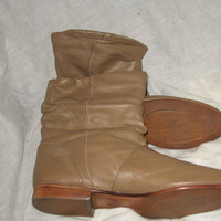 vintage brown soft leather womens slouchy pirate ankle  boots sz