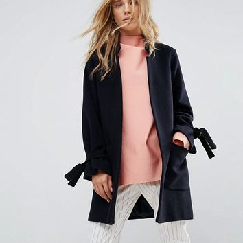Helene Berman Wool Blend Notch Collar Coat with Tie Cuffs at asos.com