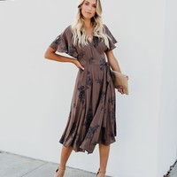 Kehlani Embroidered Wrap Midi Dress - Brown