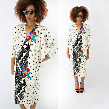 vintage 80s SILK colorful confetti ABSTRACT batwing dress size M