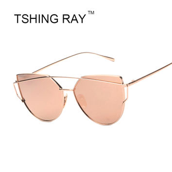 2017 New Women Rose Pink Cat Eye Sunglasses Fashion Women Brand Twin-Beams Alloy Frame Mirror Sunglasses For Female Oculos UV400
