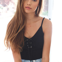 Lace Up Knit Crop Tank Top - Black