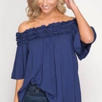 Off Shoulder Ruffle Top - Navy