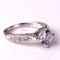 Vintage Filigree Channel Set Round CZ Solitaire Engagement Ring