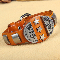 Rock Punk Style Orange Leather with Star Rivet Women Leather Cuff Bracelet, Men Bangle Cuff  X10-OR