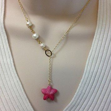 Classic Lariat Necklace Fresh Water Pearls Gold Filled Starfish Pink Turquoise Gemstone
