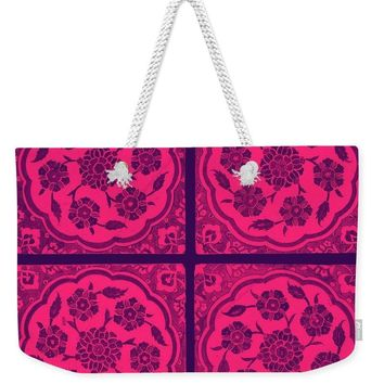 An Ottoman Iznik Style Floral Design Pottery Polychrome, By Adam Asar, No 14j - Weekender Tote Bag