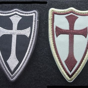 Knights crusader cross shield Patches  Military Morale patch vest CHRISTIAN army SWAT  AIRSOFT Tactical  USA army for coat