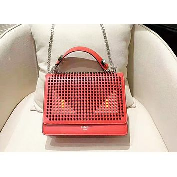 Fendi fashion trend rivet small monster eye organ bag tofu bag square bag shoulder bag